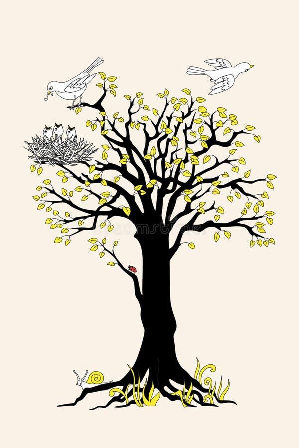 Árbol negro de la silueta con las hojas, los pájaros y la jerarquía amarillos libre illustration