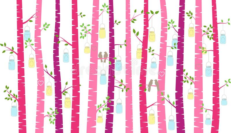 Árbol o Aspen Silhouettes con cotorras rizadas y Mason Jar Lights de abedul del día del ` s de la tarjeta del día de San Valentín ilustración del vector