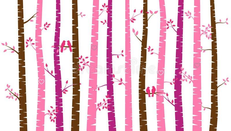 Árbol o Aspen Silhouettes de abedul del día del ` s de la tarjeta del día de San Valentín con cotorras rizadas stock de ilustración