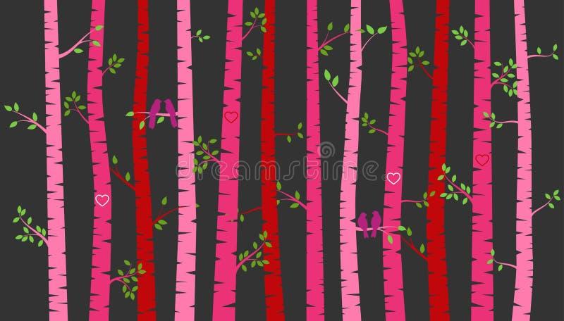 Árbol o Aspen Silhouettes de abedul del día del ` s de la tarjeta del día de San Valentín con cotorras rizadas ilustración del vector