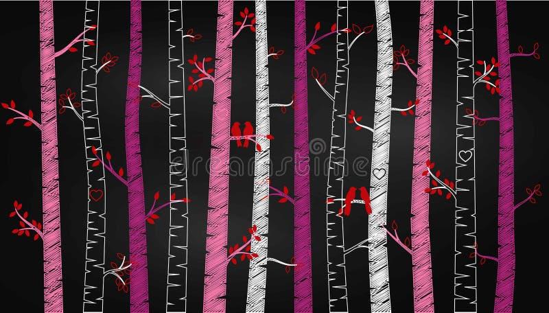 Árbol o Aspen Silhouettes de abedul del día del ` s de la tarjeta del día de San Valentín de la pizarra con cotorras rizadas libre illustration