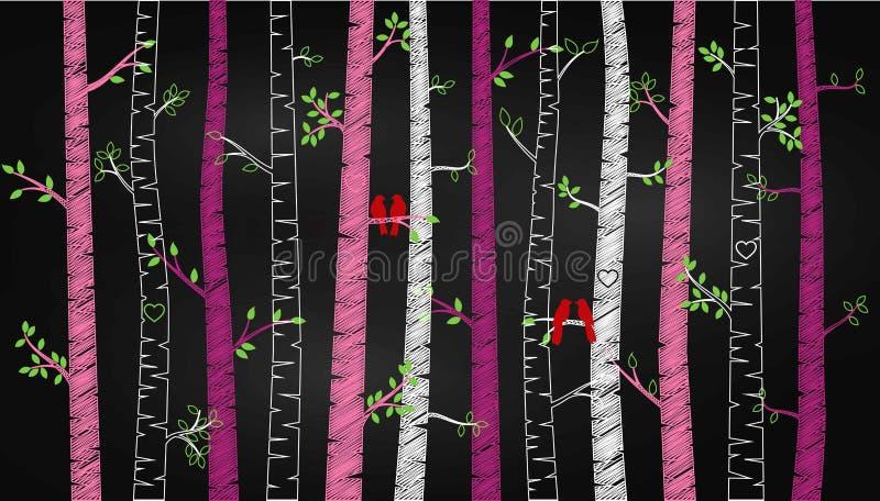 Árbol o Aspen Silhouettes de abedul del día del ` s de la tarjeta del día de San Valentín de la pizarra con cotorras rizadas stock de ilustración