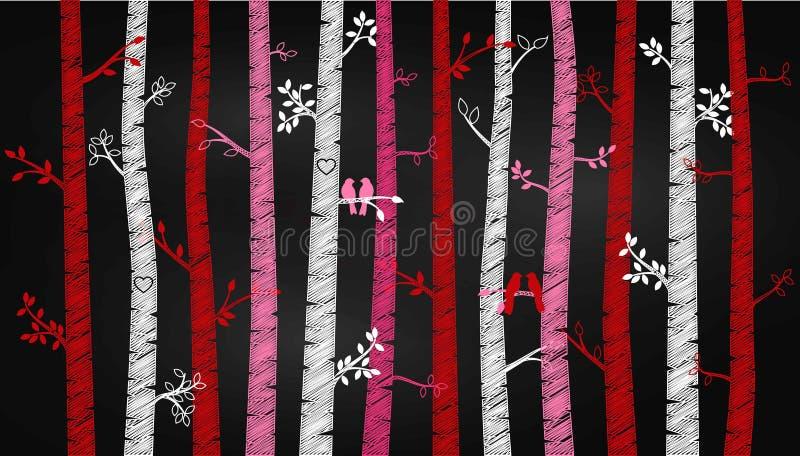 Árbol o Aspen Silhouettes de abedul del día del ` s de la tarjeta del día de San Valentín de la pizarra con cotorras rizadas ilustración del vector