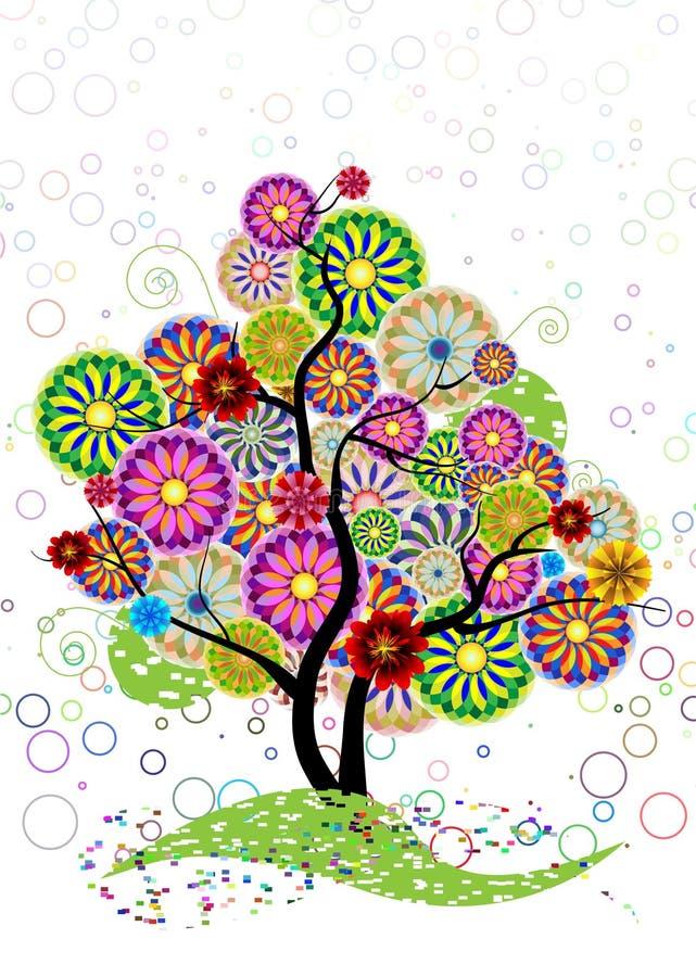 Árbol ornamental de los círculos, flores y encrespado stock de ilustración