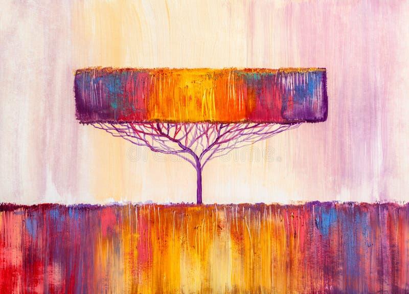 Árbol, pintura al óleo, fondo artístico stock de ilustración