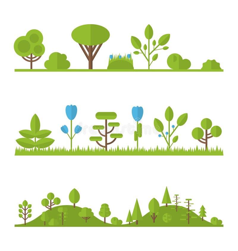 Árbol plano determinado de los iconos de la colección, pino, roble, picea, abeto, jardín libre illustration