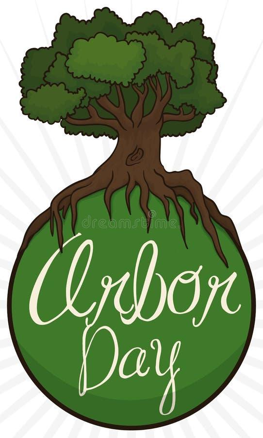 Árbol que cubre un botón verde para el día del árbol, ejemplo del vector stock de ilustración