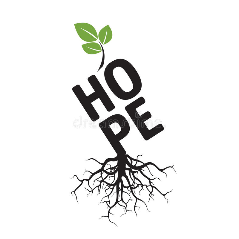 Árbol, raíces y ESPERANZA del texto libre illustration