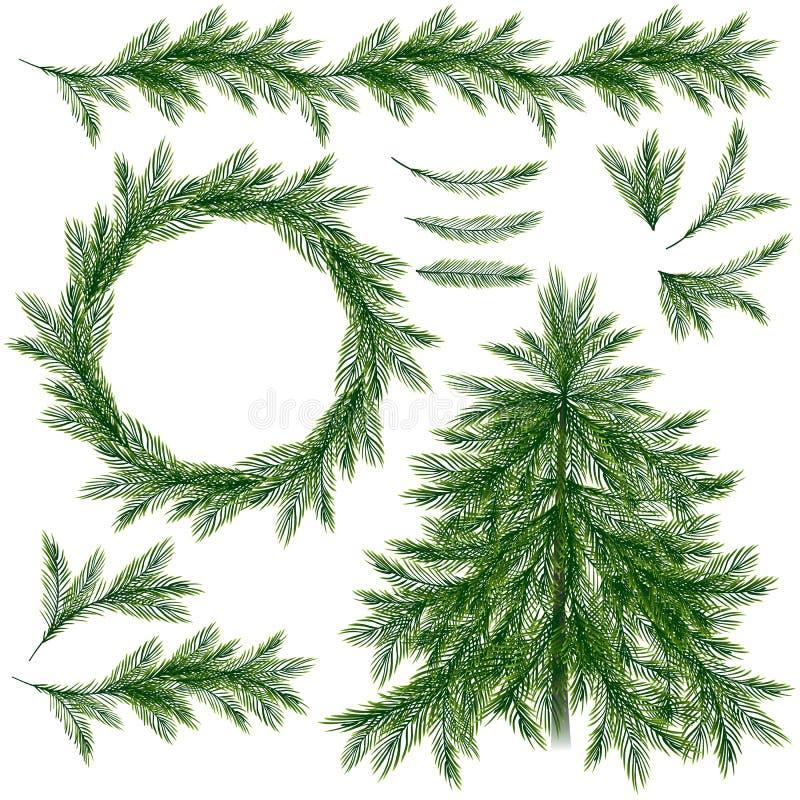 Árbol, ramas, guirnalda y frontera de la picea aislados en fondo del wite libre illustration