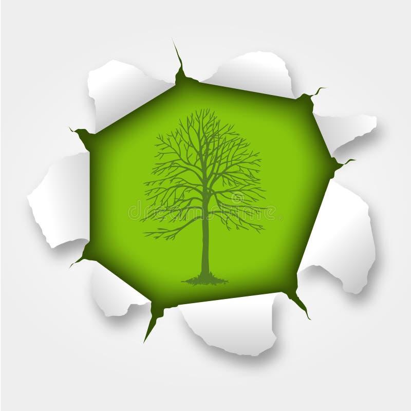 Árbol rasgado ilustración del vector