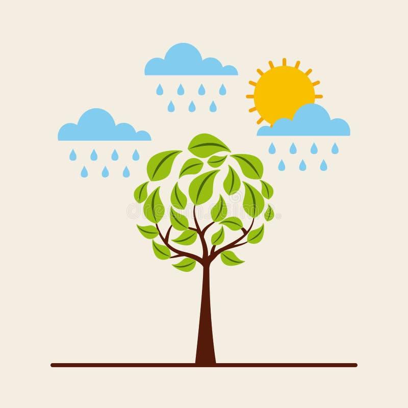 Árbol redondo verde que llueve el ambiente del sol del cielo ilustración del vector