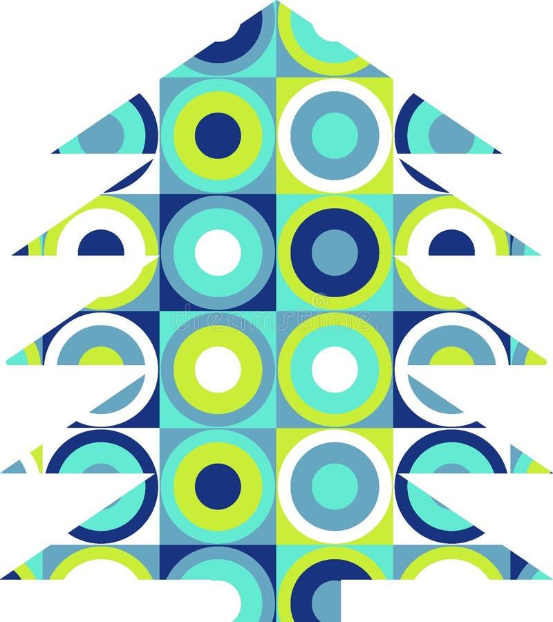 Árbol retro de Navidad ilustración del vector