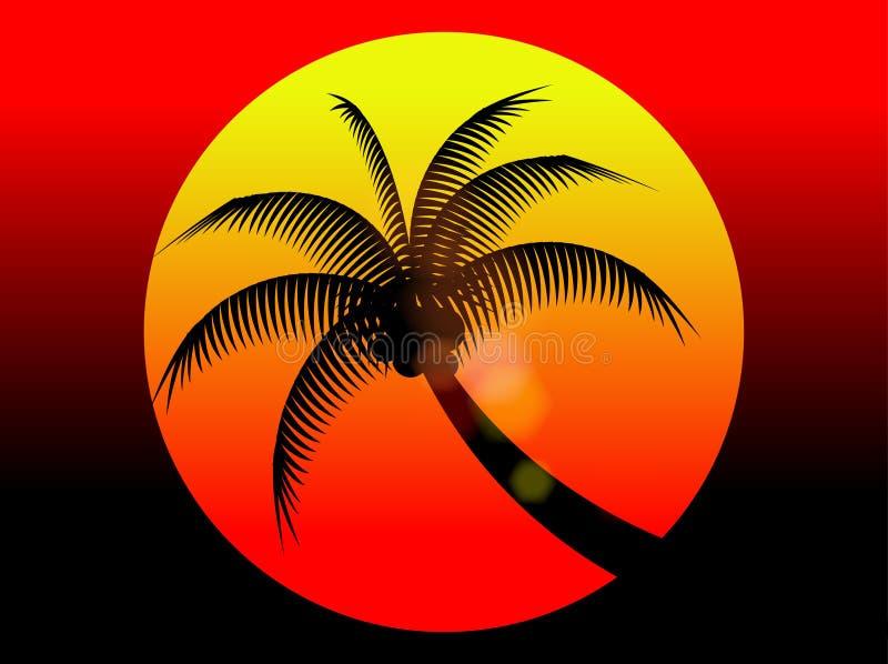 Árbol rojo de la puesta del sol y de coco de las vacaciones de verano stock de ilustración