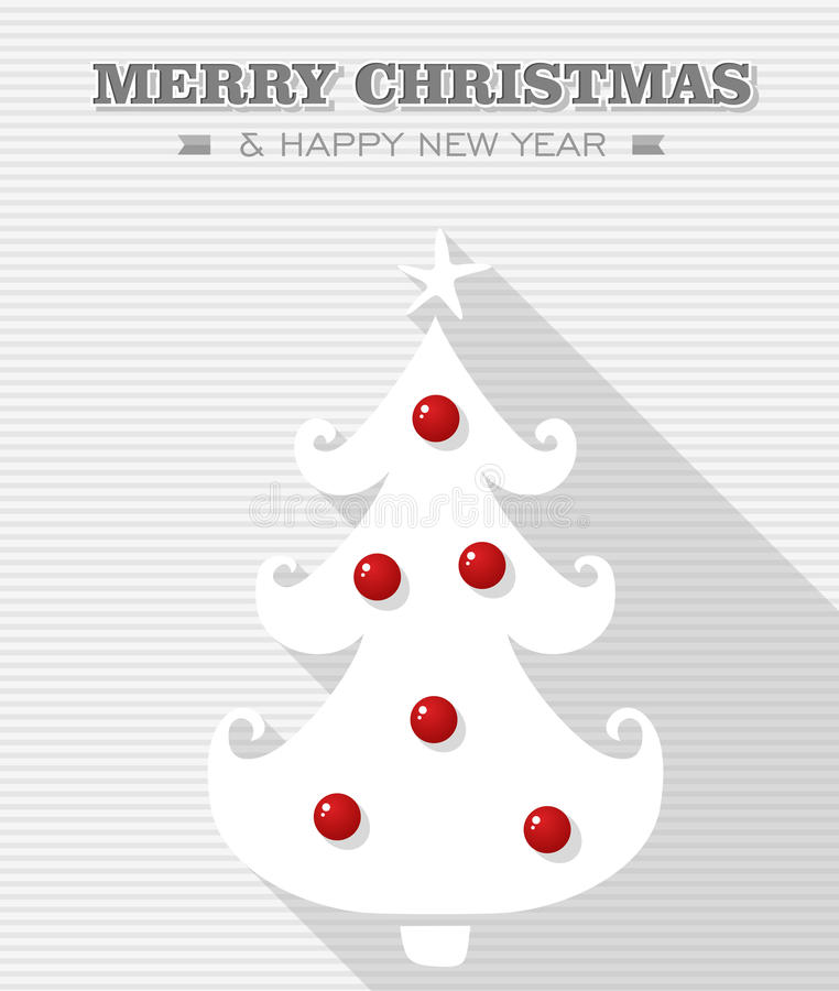 Árbol rojo del blanco del punto de la Feliz Navidad. ilustración del vector
