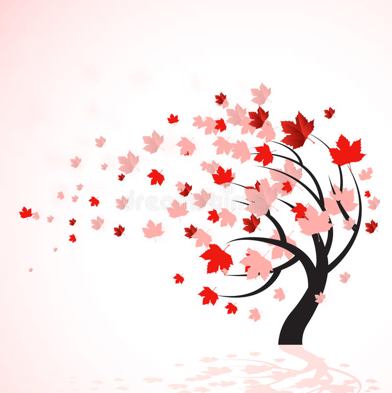 Árbol rojo del otoño stock de ilustración