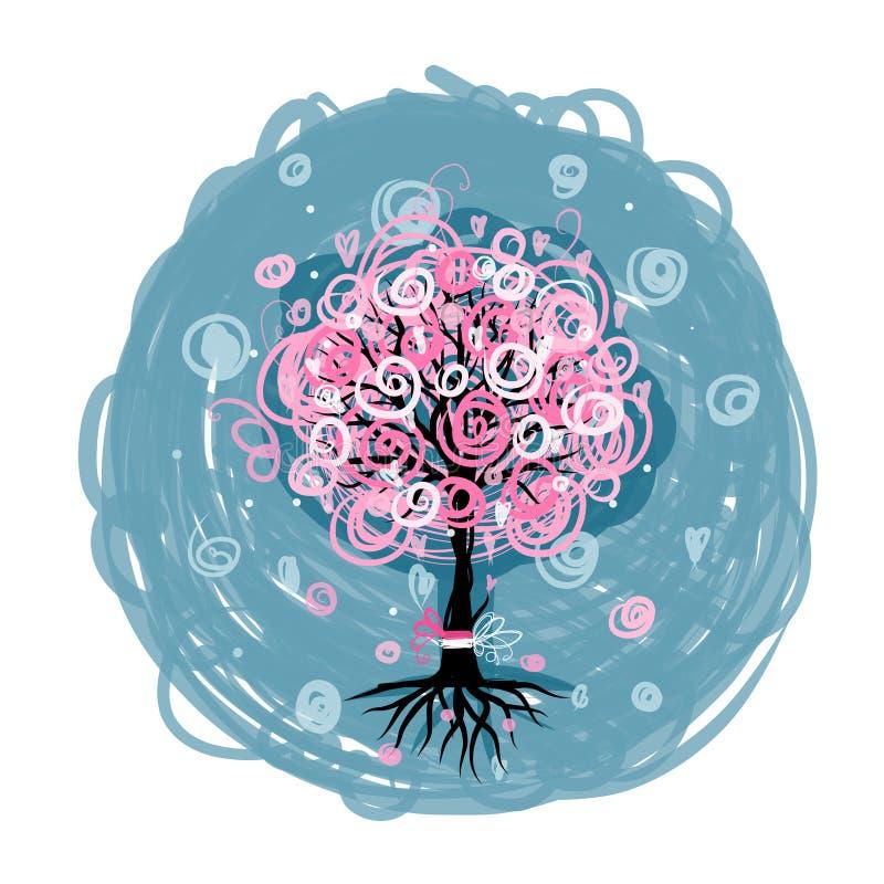 Árbol rosado abstracto con las raíces para su diseño stock de ilustración