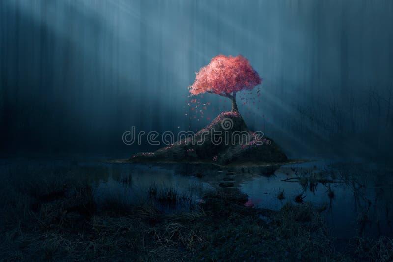 Árbol rosado en bosque azul ilustración del vector