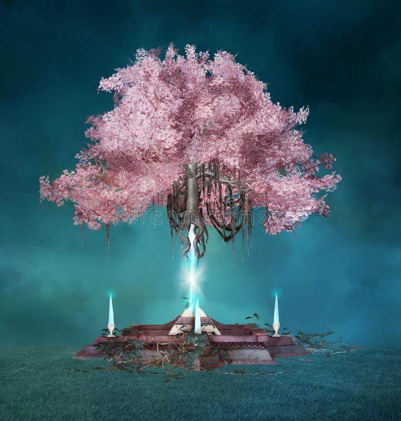 Árbol rosado mágico en la noche azul foto de archivo