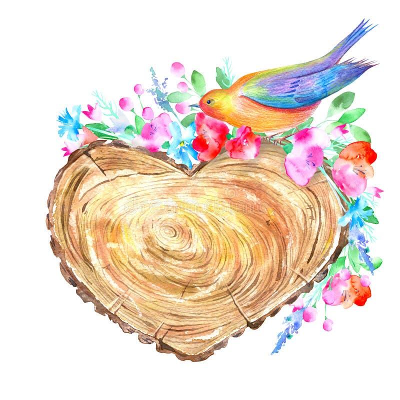 Árbol seccionado transversalmente de un en forma de corazón, de un pájaro y de una guirnalda floral ilustración del vector