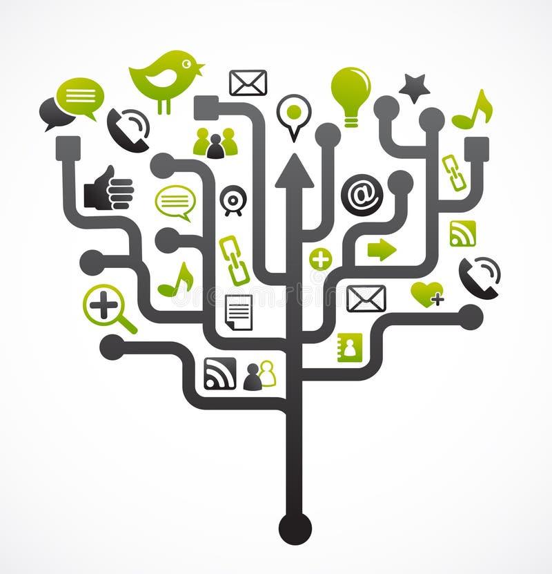 Árbol social de la red con los iconos de los media ilustración del vector