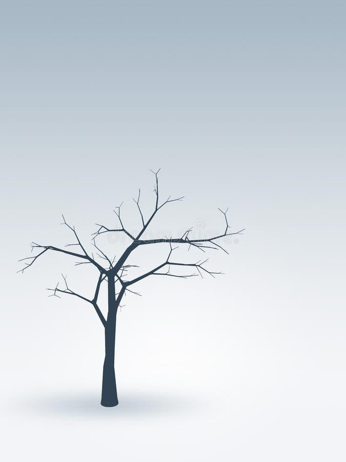 Árbol solamente en invierno stock de ilustración