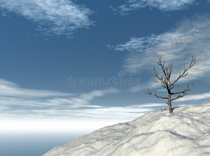 Árbol solitario en invierno stock de ilustración
