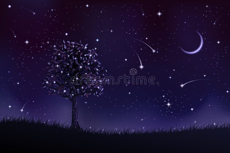 Árbol solitario en la noche stock de ilustración