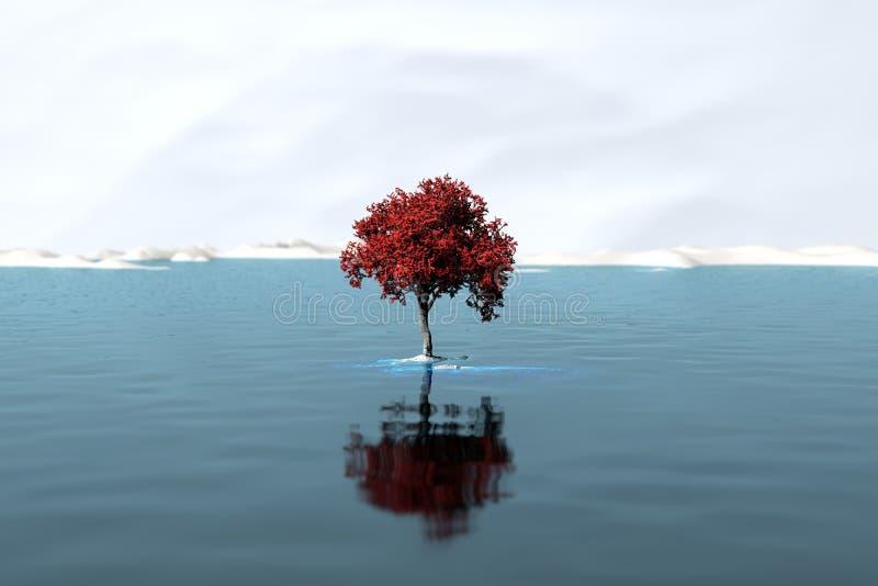 Árbol solitario en un lago grande libre illustration