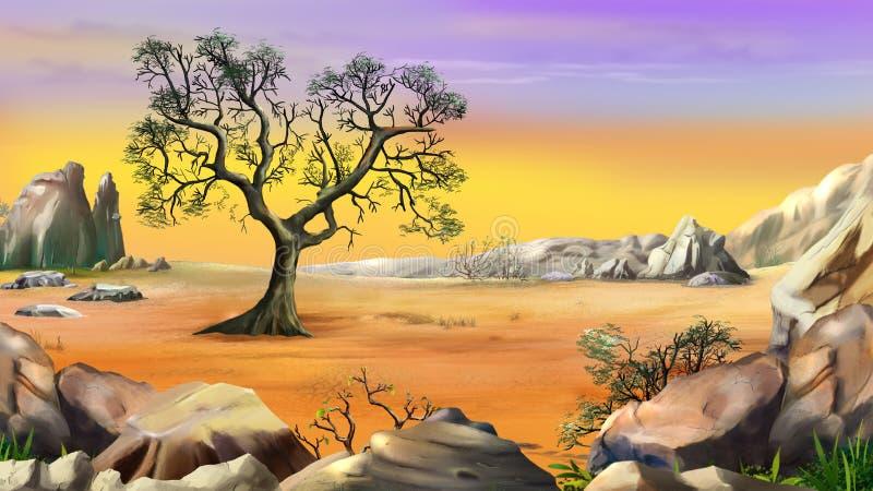 Árbol solitario rodeado por la montaña debajo del cielo amarillo stock de ilustración