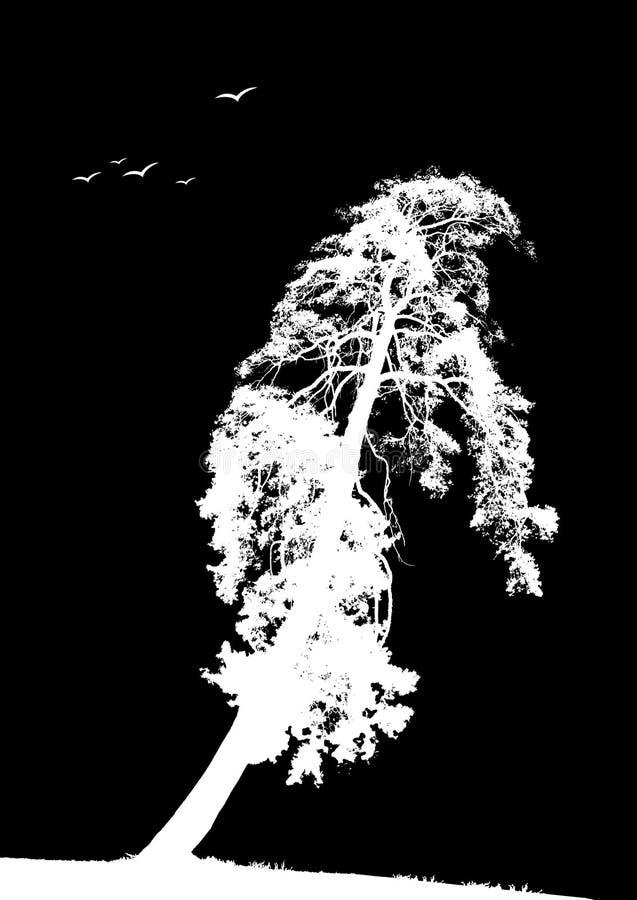 Árbol solo con los pájaros. Vector libre illustration