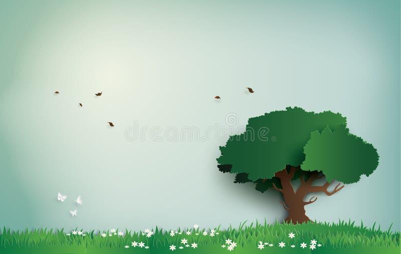Árbol solo en el campo con día claro stock de ilustración