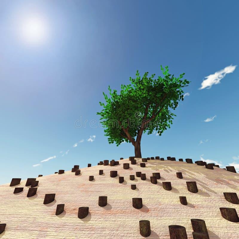 Árbol solo en el medio de tocones stock de ilustración