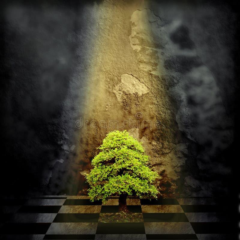 Árbol solo en un cuarto oscuro stock de ilustración