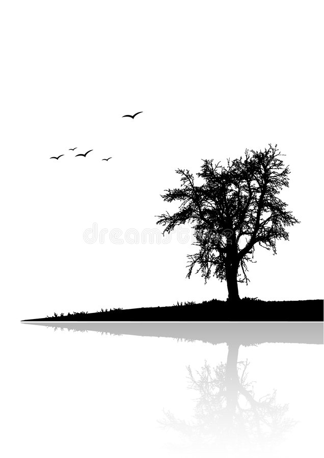 Árbol solo por el agua stock de ilustración