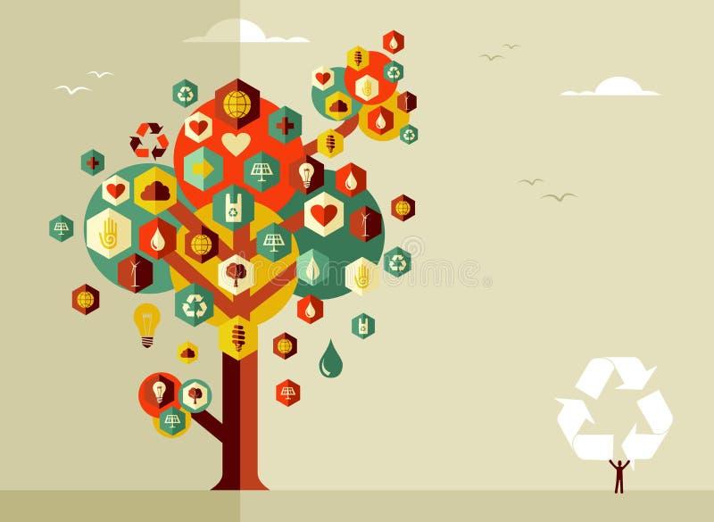 Árbol sostenible de la vida stock de ilustración
