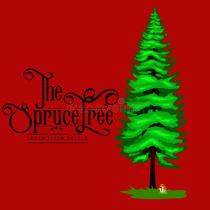 Árbol spruce en un icono blanco del fondo, parque al aire libre del verano de la historieta con la rama, hojas en vector de la hi ilustración del vector
