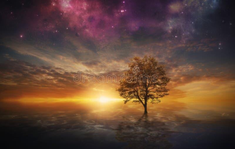 Árbol surrealista en el lago libre illustration