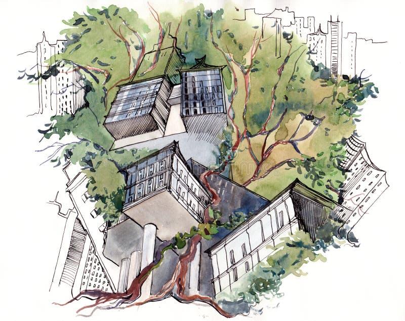 Árbol urbano de Abstarct ilustración del vector