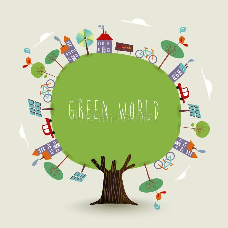 Árbol verde de la tierra del planeta con la ciudad sostenible stock de ilustración