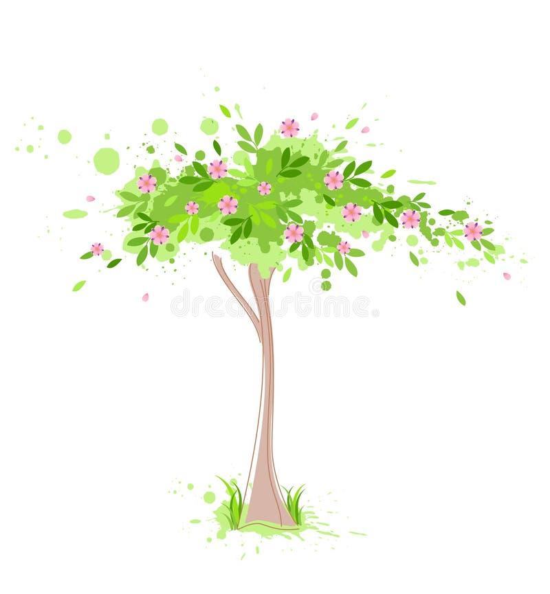 Árbol verde del resorte stock de ilustración