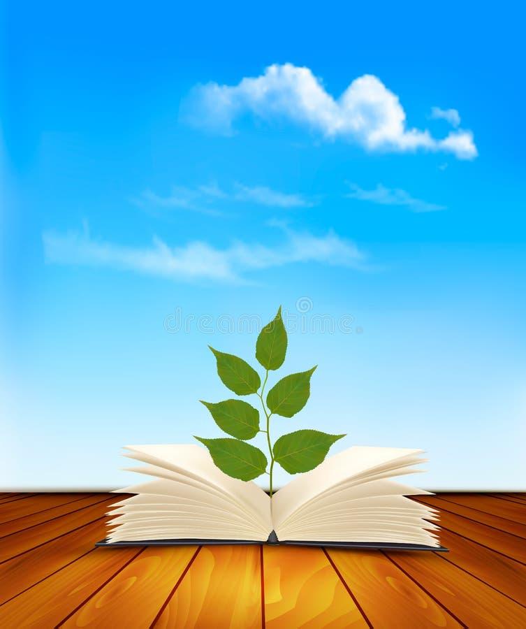 Árbol verde que crece del libro abierto stock de ilustración
