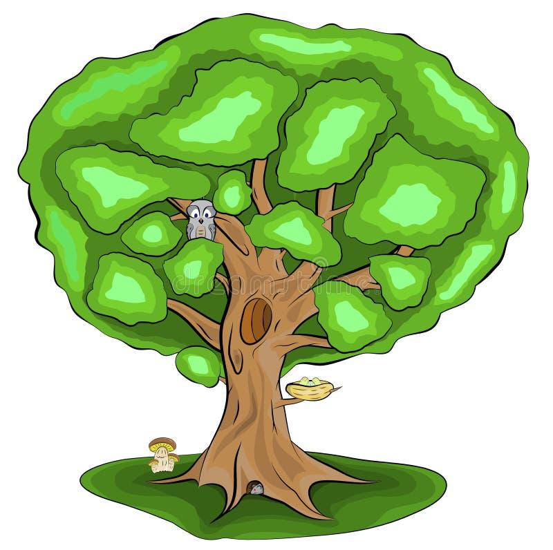 Árbol verde, solo con las hojas y animales, búho, ratón, seta, jerarquía, huevos, ejemplo del vector en la versión coloreada con  libre illustration