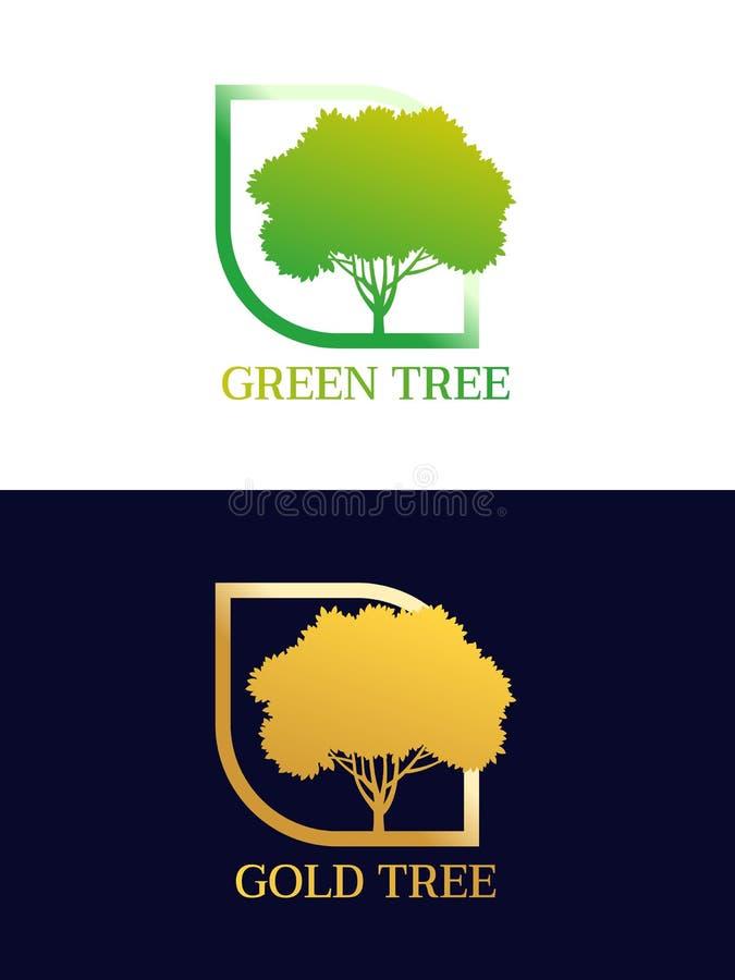 Árbol verde y árbol del oro en diseño de la esquina curvado del vector del logotipo del marco ilustración del vector