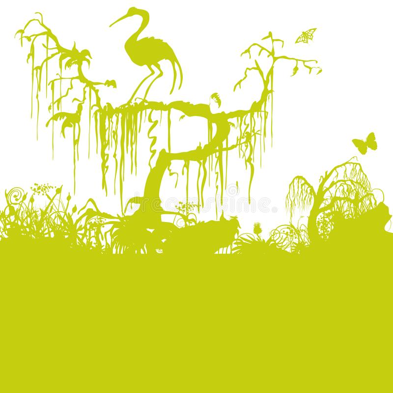 Árbol viejo en el pantano stock de ilustración