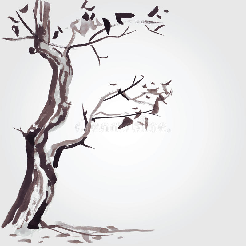 Árbol viejo en estilo chino libre illustration