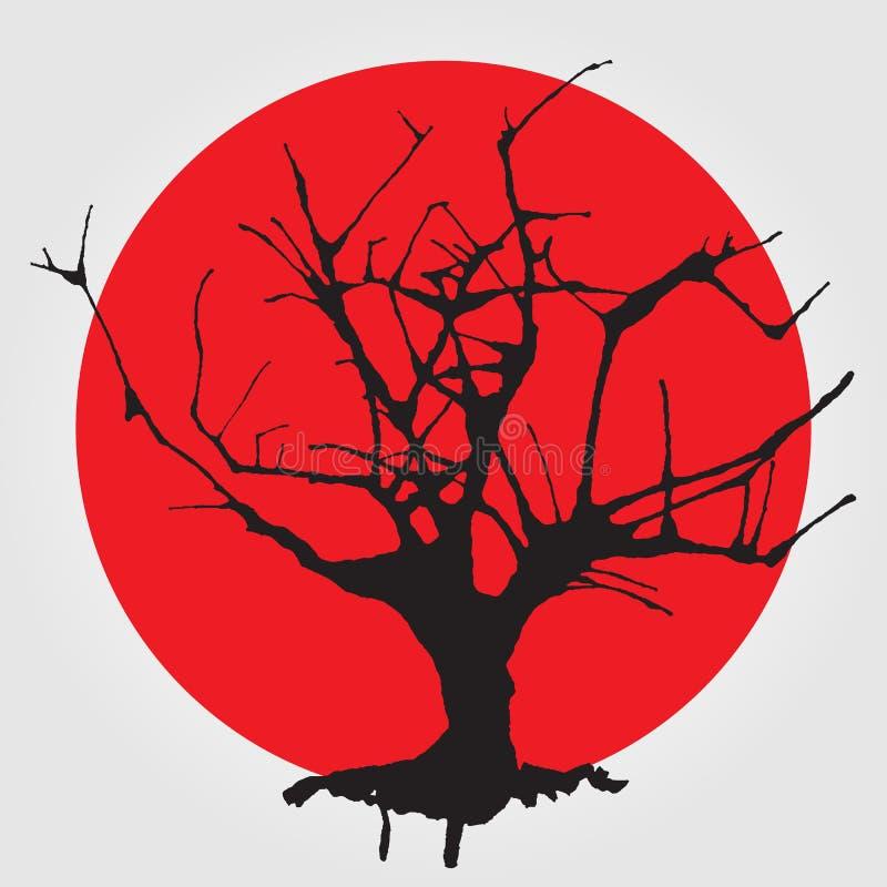 Árbol viejo en estilo chino stock de ilustración