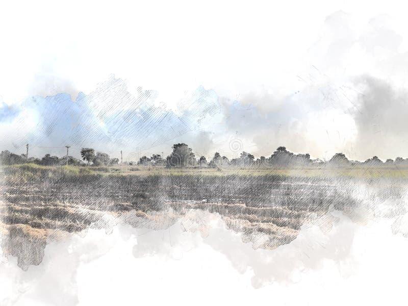Árbol y campo hermosos abstractos en fondo colorido de la pintura de la acuarela stock de ilustración