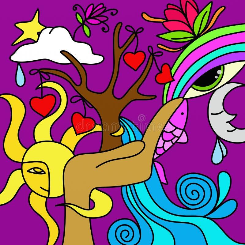 Árbol y corazones stock de ilustración