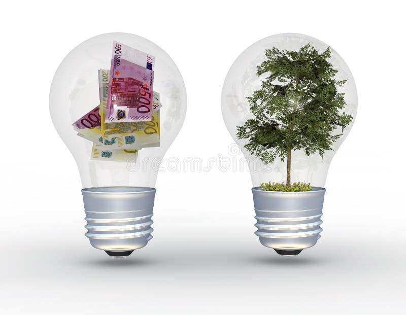 Árbol y dinero en bombillas. libre illustration