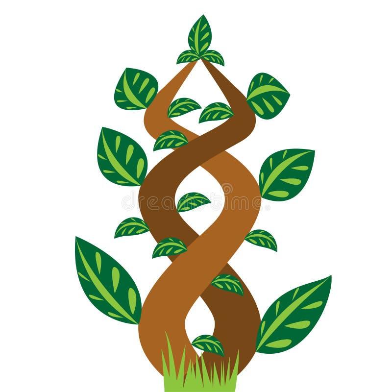 Árbol y hoja florales stock de ilustración